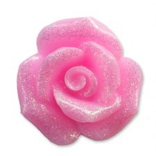 20mm BABY PINK Glitter Rose Resin Flatback Cabochon